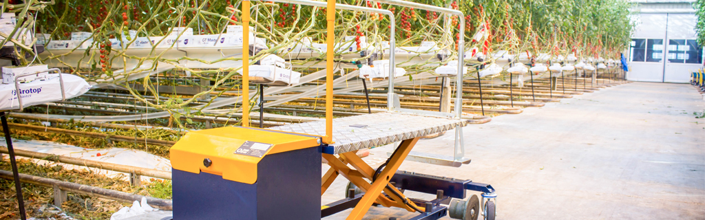 Leaf picking trolley for cutting and picking leaves at the desired height   Steenks Service